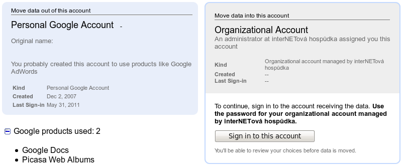 Google Temp Account transfer