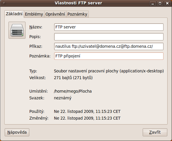 spouštěš ftp gnome